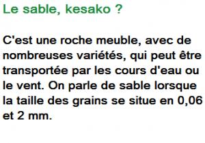 Le sable kesako